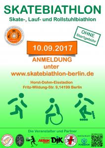 Plakat zum 8. Skate-, Lauf- und Rollstuhlbiathlon